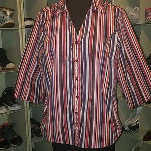 Avenue stretch black red stripe blouse 14 16